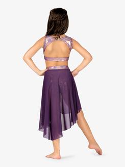 Girls Iridescent Waistband Performance High-Low Skirt