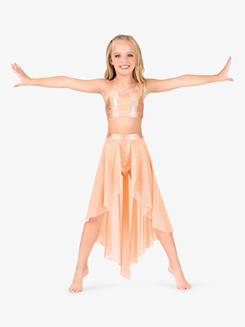Girls Iridescent Performance Open Front Skirt