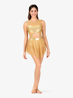 Girls Performance Metallic Mesh Cutout Tank Dress