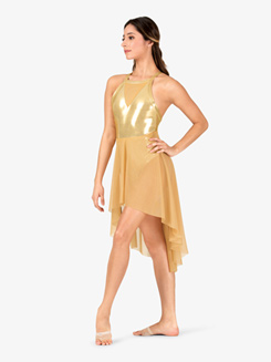 Girls Performance Mesh Front Metallic X-Back Dress