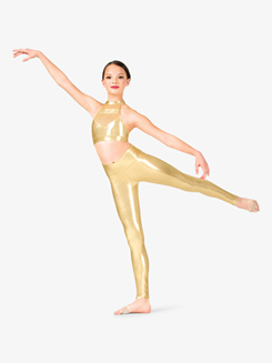 Girls Performance Metallic Full-Length Leggings