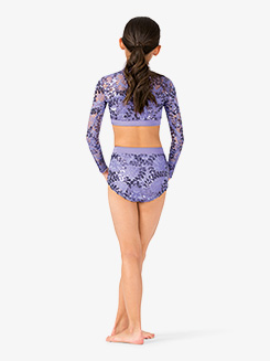Girls Performance Lace Long Sleeve Crop Top