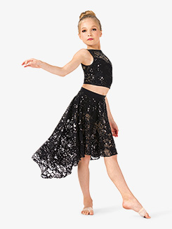 Girls Performance Lace Asymmetrical Skirt