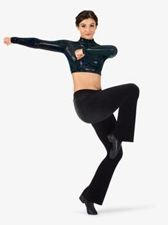 Womens Velvet V-Waist Boot Cut Jazz Pants