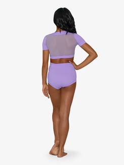 Girls Sequin Insert Short Sleeve Dance Crop Top
