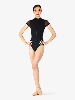 Womens Gwenn Mock Neck Short Sleeve Leotard