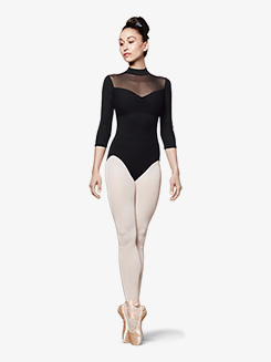 Womens Vine Mesh Zip Back 3/4 Sleeve Leotard