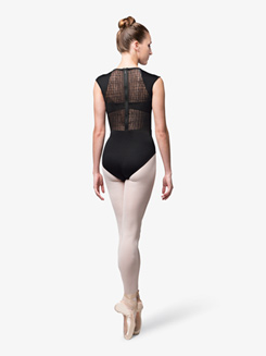 Womens Mesh Insert Short Sleeve Leotard