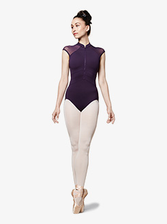 Womens Vine Zip Front Cap Sleeve Leotard