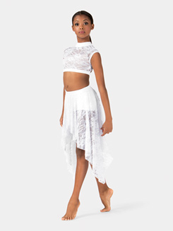 Child Convertible High-Low Lace Dance Skirt