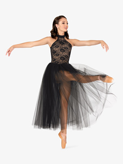 Womens Ballet Floral Lace Tutu Dress