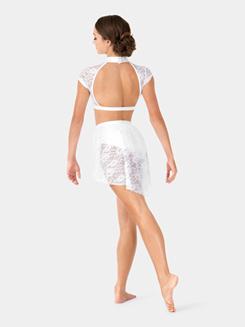 Adult Lace Cap Sleeve Dance Crop Top