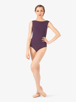 Adult Brushed Cotton Wide Neck Tank Leotard