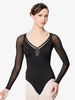 Womens Viviane Mesh Insert Long Sleeve Leotard