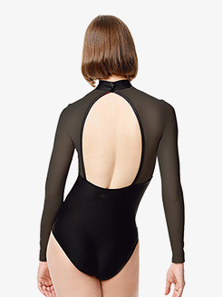 Womens Rio Embellished Mesh Long Sleeve Leotard