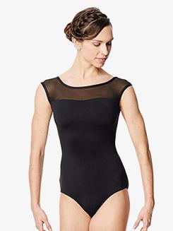 Womens Priscila Netted V-Back Cap Sleeve Leotard