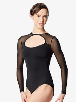 Girls Simona Netted Mesh Insert Long Sleeve Leotard