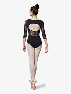 Womens Lace Back Cutout 3/4 Sleeve Leotard