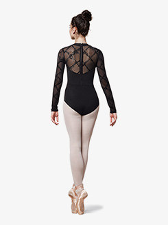 Womens Messina Flock Mesh Long Sleeve Leotard