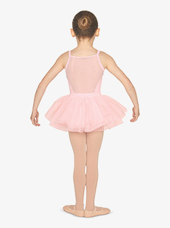 Girls Rhinestone Mesh Camisole Ballet Tutu Dress