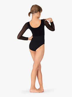Girls Diamond Mesh Long Sleeve Leotard