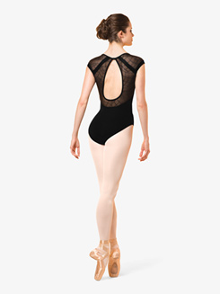 Womens Geometric Mesh Short Sleeve Leotard