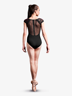 Womens Laser Cut Mesh Short Sleeve Leotard