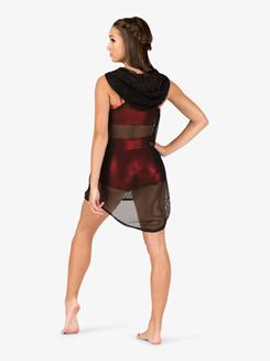 Womens Mesh Hooded Dance Tank Dress