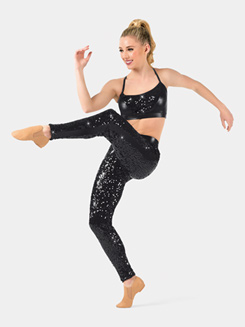 Adult Side Stripe Sequin Leggings
