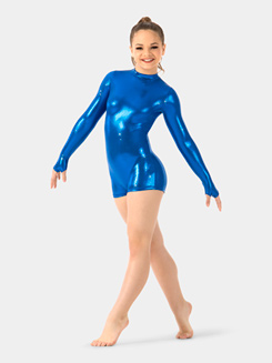 Girls Metallic Long Sleeve Shorty Unitard