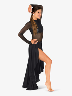 Womens Performance Mesh Long Sleeve High-Low Dress