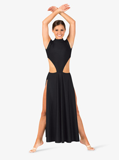 Womens Performance Side Cutout Cap Sleeve Dress