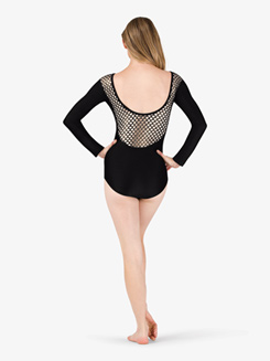 Womens Metallic Mesh Keyhole Long Sleeve Leotard