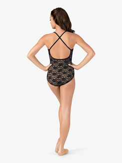 Womens Lace Camisole X-Back Leotard