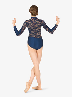 Womens Lace Back Mock Neck Long Sleeve Leotard