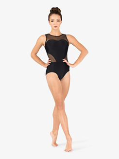 Womens Performance Mesh Insert Tank Leotard