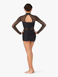 Womens Performance Mesh Mock Neck Shorty Unitard