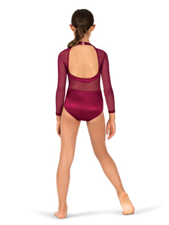 Womens Performance Satin Open Back Long Sleeve Leotard