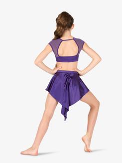 Womens Performance Satin Short High-Low Skirt
