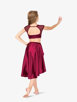 Girls Performance Satin Open Front Skirt