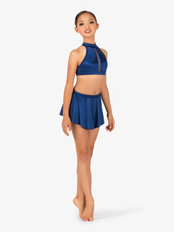 Girls Performance Satin Mock Neck Crop Top