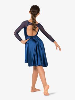 Girls Performance Satin Open Back Long Sleeve Dress