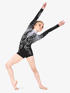 Girls Performance Swirled Sparkle Long Sleeve Printed Shorty Unitard