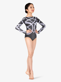 Girls Performance Geo Sparkle Long Sleeve Printed Leotard