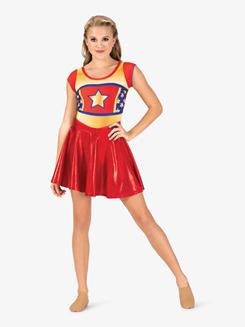 Womens Performance Superhero Printed Short Sleeve Leotard
