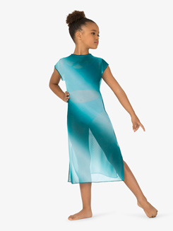 Girls Performance Ombre Mesh Short Sleeve Dress