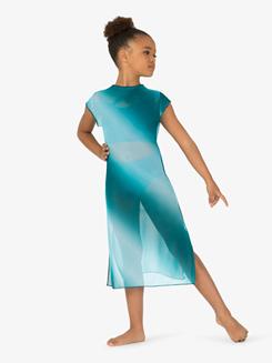 Girls Performance Ombre Mesh Short Sleeve Dress