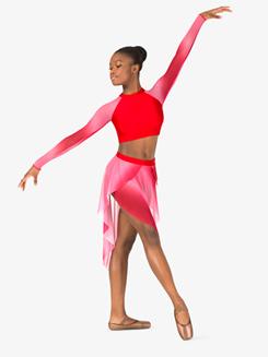 Womens Performance Ombre Mesh Crop Top