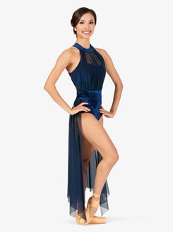 Womens Plus Size Performance Velvet Open Front Dress