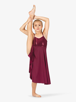 Girls Performance Swirl Sequin Mid-Length Dress